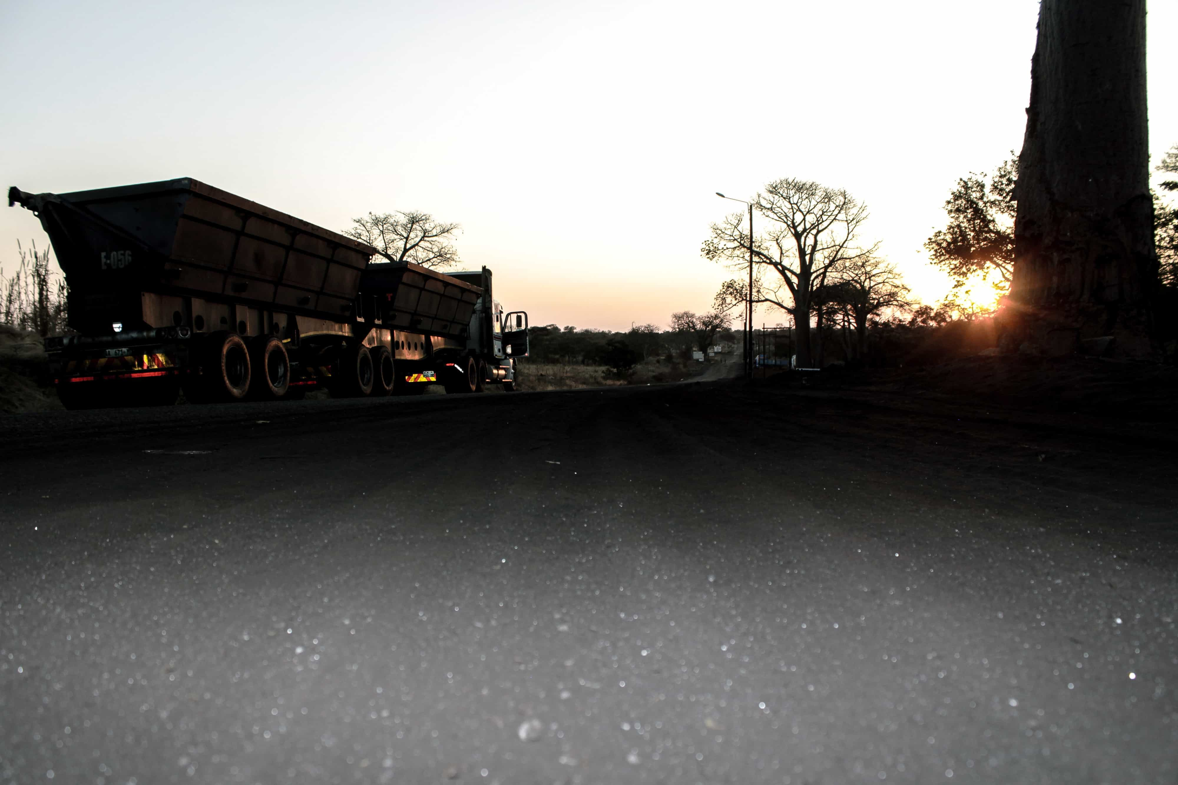 The road entrance to a Jindal coal mine in Tete Province, Mozambique, is full of coal dust. Photo: Jesper Kirkbak