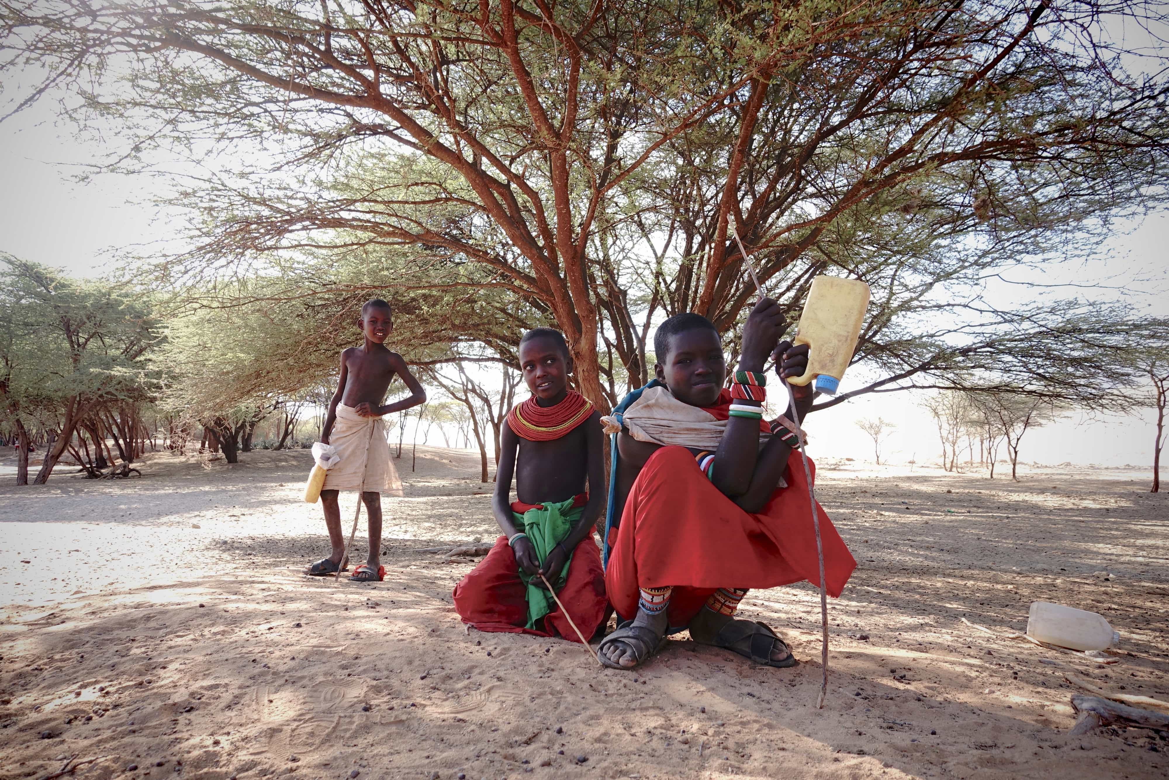 Turkana-børn driver deres geder til brønden. Foto: Shafiur Rahman, Danwatch.