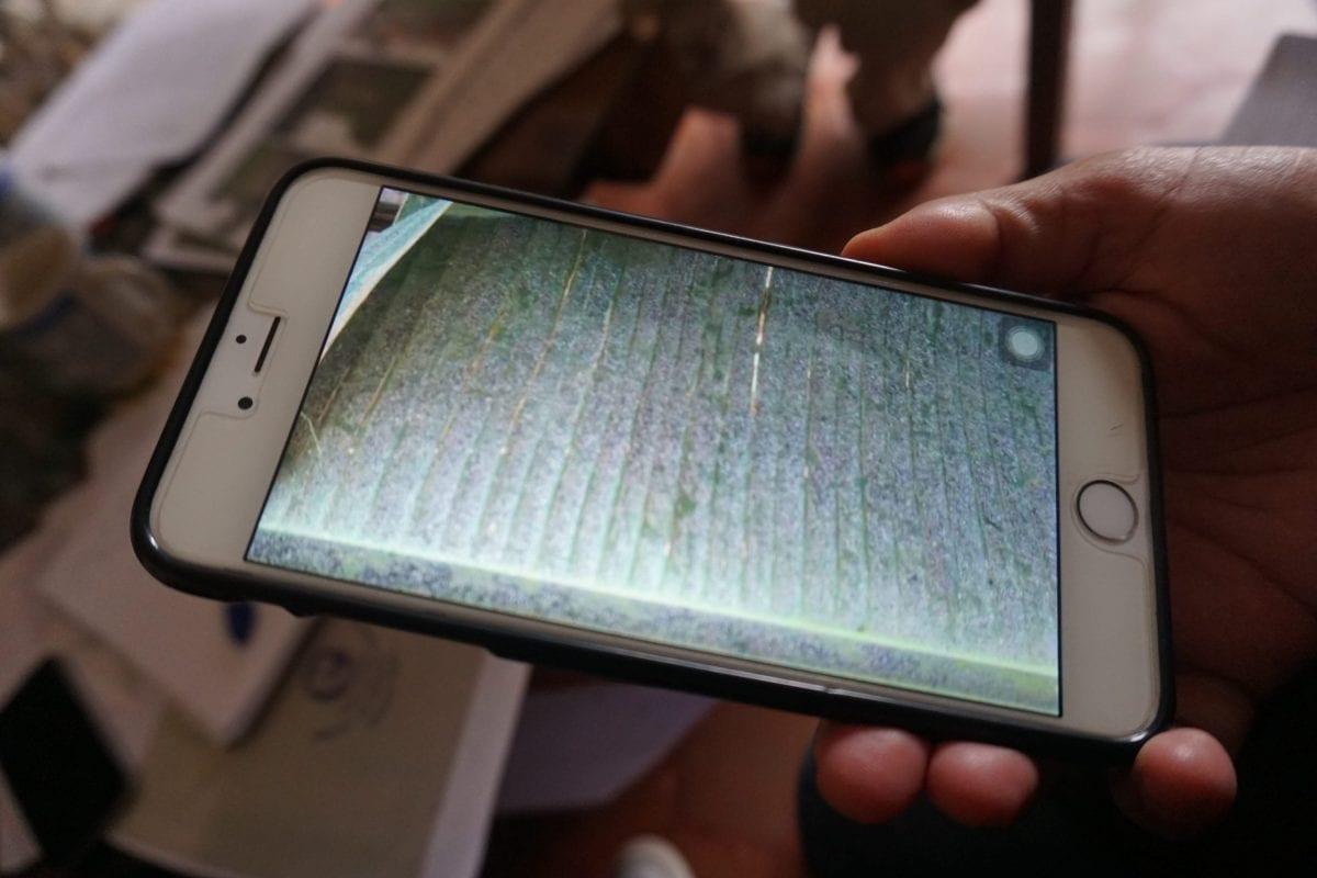 En lokal indbygger fremviser mobilfotos af sodforureningen. Dette foto er fra august 2017.