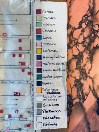 Kortet over kræftramte er inddelt efter forskellige farver, der hver repræsenterer forskellige sygdomme.