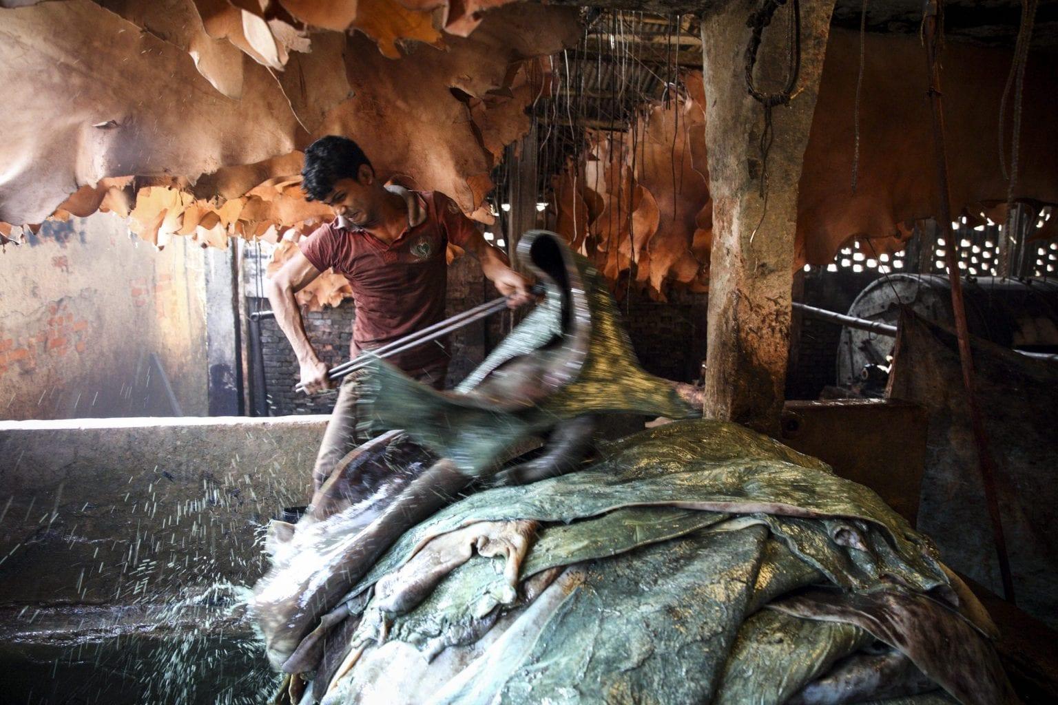 Arbejdere på garverier i Indien og Bangladesh arbejder under farlige vilkår. Danwatch har interviewet flere arbejdere i byen Vaniyambdi i Indien, som siger, at de bliver syge af at arbejde i støv og kemikaliedampe. I Bangladesh var byen Hazaribagh centrum for læderindustrien i mange år,og oplevede også konsekvenser som forurening og sygdom. Foto: GMB Akash