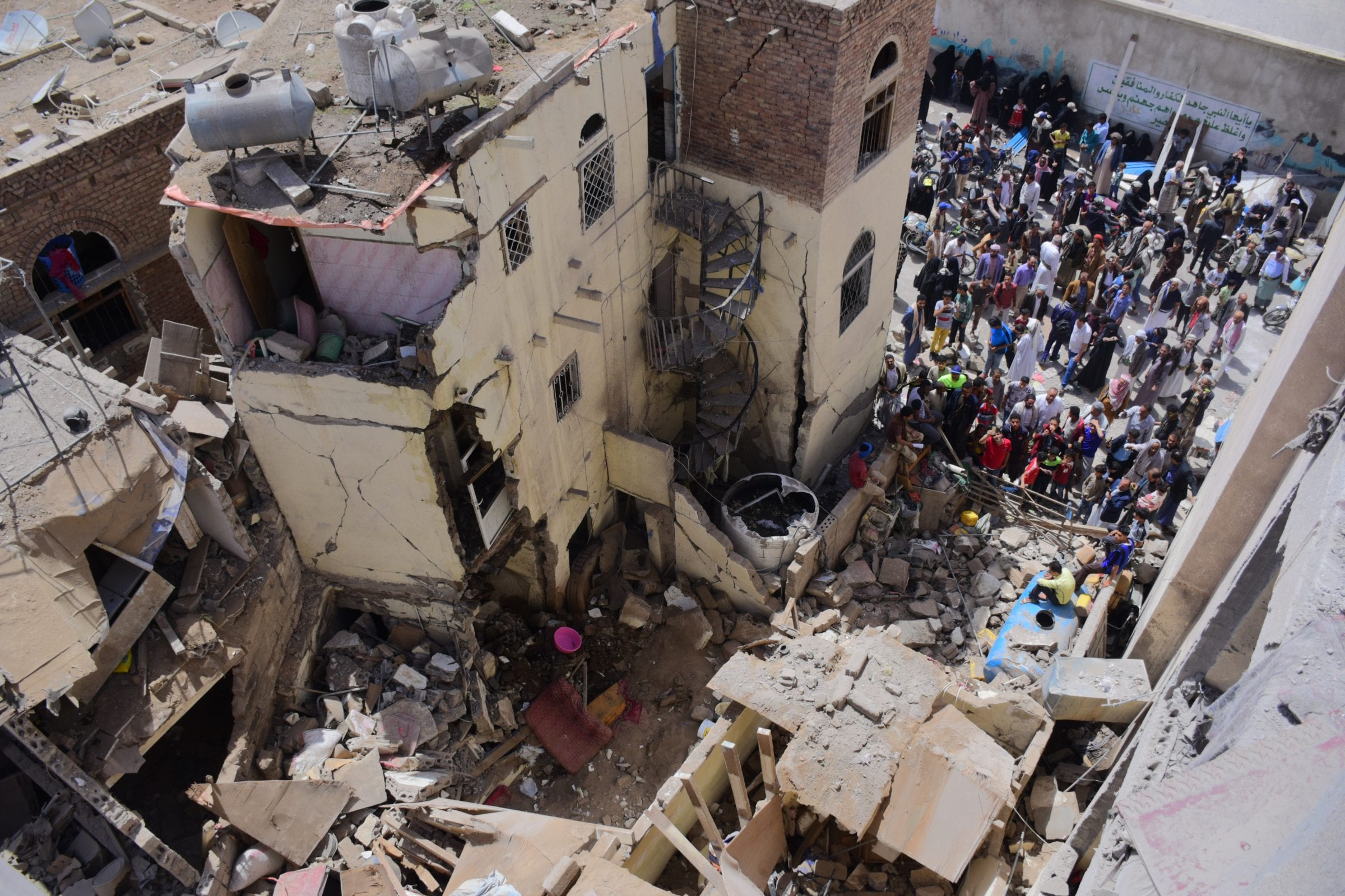Destruction of civilian houses that were hit during airstrike raidsin Sana'a on Thursday 16th May 2019.