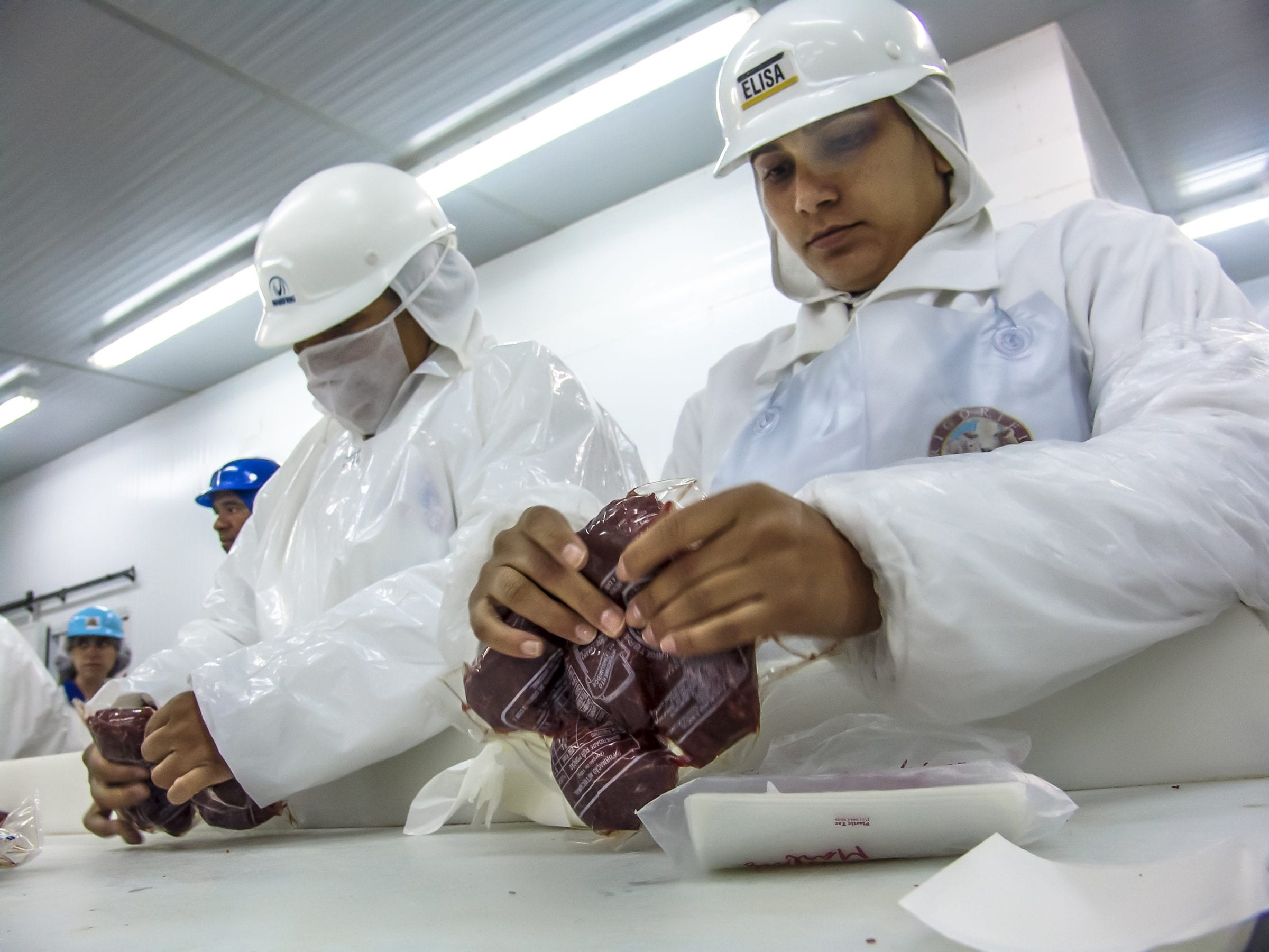Sao Paulo, Brazil, March 09, 2006. Meat processing in food industry