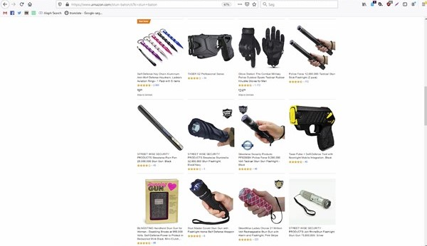 På amerikanske Amazon kan man købe elektriske knipler såvel som strømpistoler, der er forklædt som alt fra mobiltelefoner til læbestifter