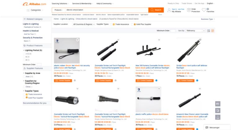 På den kinesiske internethandel Alibaba kan du købe en lang række forskellige elektriske knipler for ned til 5 dollars per styk - de omtales som alt fra 'self defence' til 'riot security police baton'