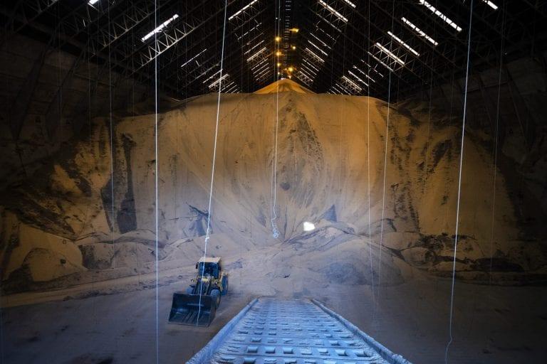Til haller som den her, der har en kapacitet på 300.000 tons soja eller knap en femtedel af hele Danmarks årlige import.