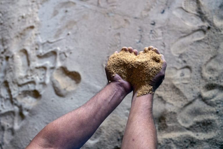 En håndfuld sojamel i hænderne på Gerardo Franke fra Louis Dreyfus Company.