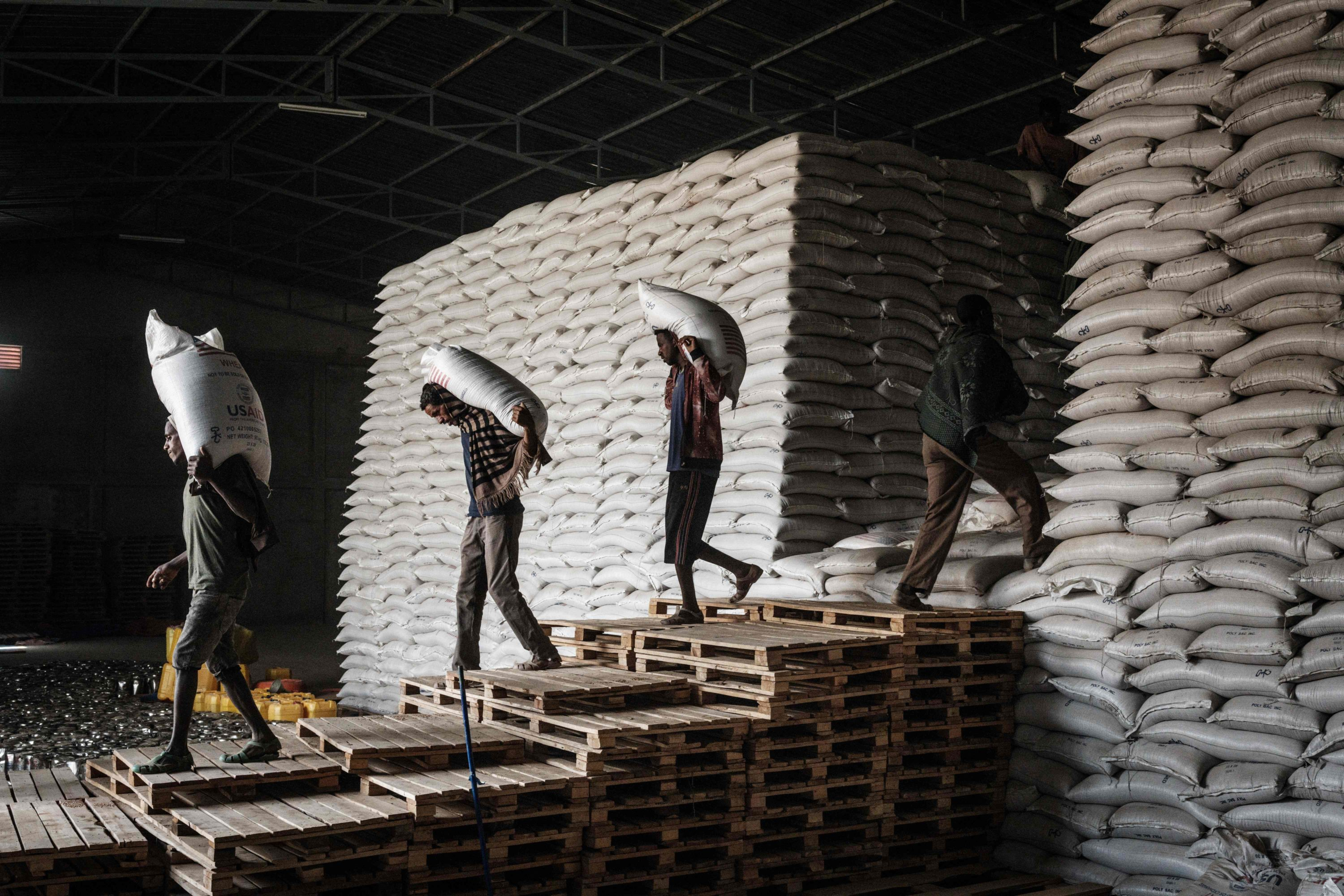 Workers carry sacks of wheat from stocks for a food distribution for 4503 people, who fled the violence in Ethiopia's Tigray region, organised by the local NGO Relief Society of Tigray (REST) in Mekele, the capital of Tigray region on June 22, 2021. (Photo by Yasuyoshi CHIBA / AFP)