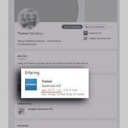 En Systematic-ansats LinkedIn-profil viser, at han har været træner for Systematic i Emiraterne siden december 2017.